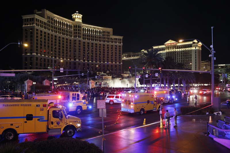 Police and emergency crews respond to the scene of a car accident along Las Vegas Boulevard, Sunday, December 20, 2015, in Las Vegas. Photo: AP