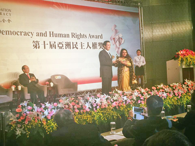Sunita Danuwar, Founder and Chairman of Shakti Samuha receiving Asia Democracy and Human Rights Award 2015 by the Taiwan Foundation for Democracy in Taipei of Taiwan on Thursday, December 10, 2015. Photo: Courtesy Shakti Samuha