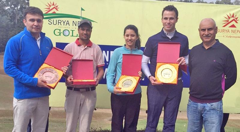(From left) Jabbor Kayumov, Shyam Simkhada, Aditi Ghimire, Andrew Murray and Suhrid Ghimire after the Surya Nepal Gokarna Monthly Medal in Kathmandu on Saturday. Photo:Udipt Singh Chhetry/THT