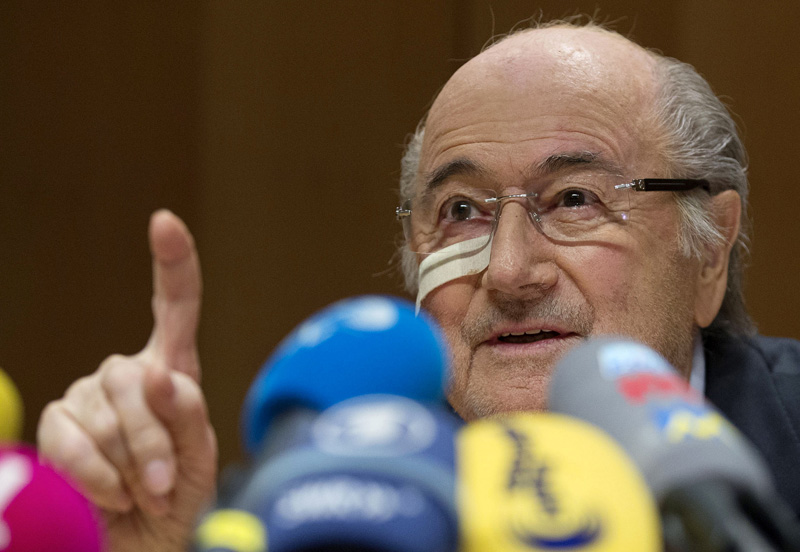 Suspended FIFA President Sepp Blatter  answers to questions during his press conference to respond to the FIFA ethics committee's verdict, at former FIFA's headquarters Hotel Sonnenberg in Zurich, Switzerland, Monday, Dec. 21, 2015. Photo: AP