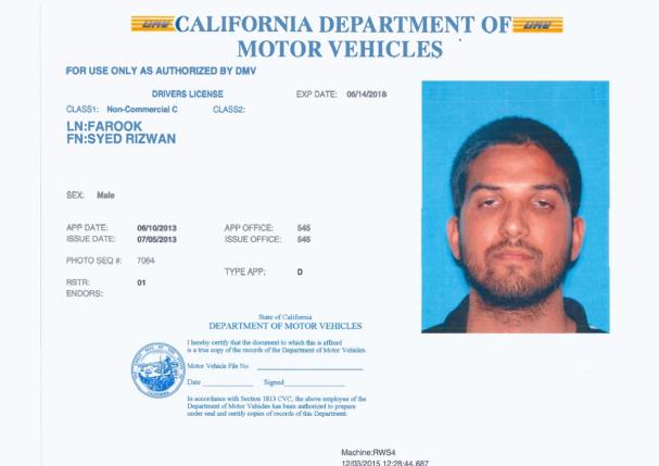 Syed Rizwan Farook is pictured in his California driver's license, in this undated handout provided by the California Department of Motor Vehicles, December 3, 2015. REUTERS/California Department of Motor Vehicles/Handout