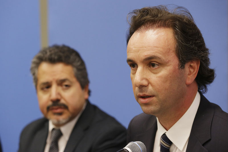 President of the Syrian National Coalition Khaled Khoja (right) is joined by Syrian National Coalition Special Representative to the US and the United Nations Najib Ghadbian as he speaks to reporters during a news conference, at UN headquarters. Photo: AP
