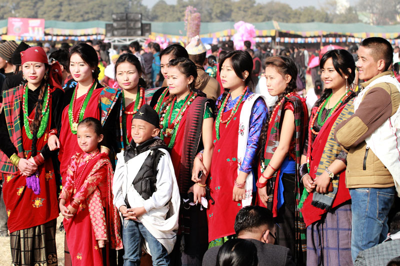 Members of Tamu community take part in a function organised by to mark the Tamu Lhosar, the new year of their calendar, in Tundikhel on Wednesday, December 30, 2015. Photo: RSS