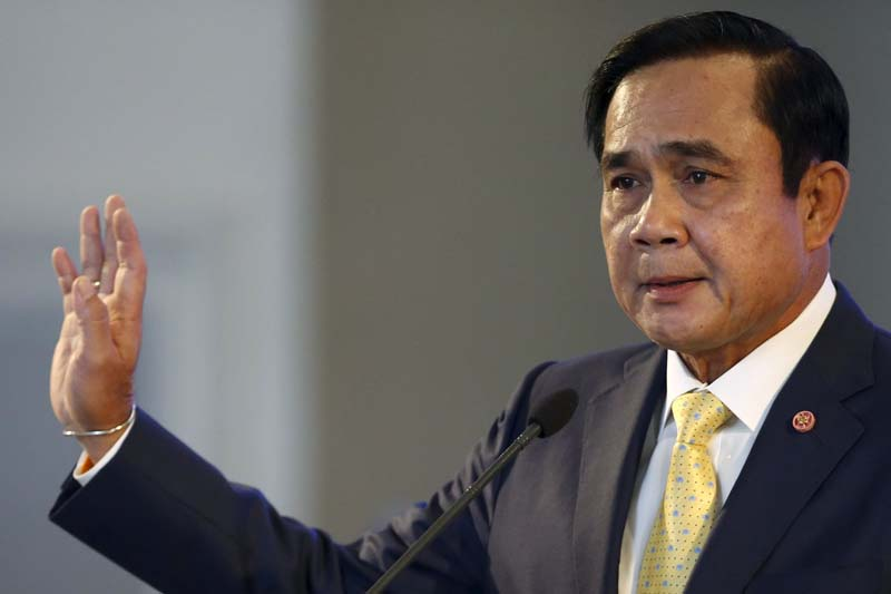 Thailand's Prime Minister Prayuth Chan-ocha addresses the nation and summarises the junta government's annual report in Bangkok, Thailand, December 23, 2015. Photo: Reuters