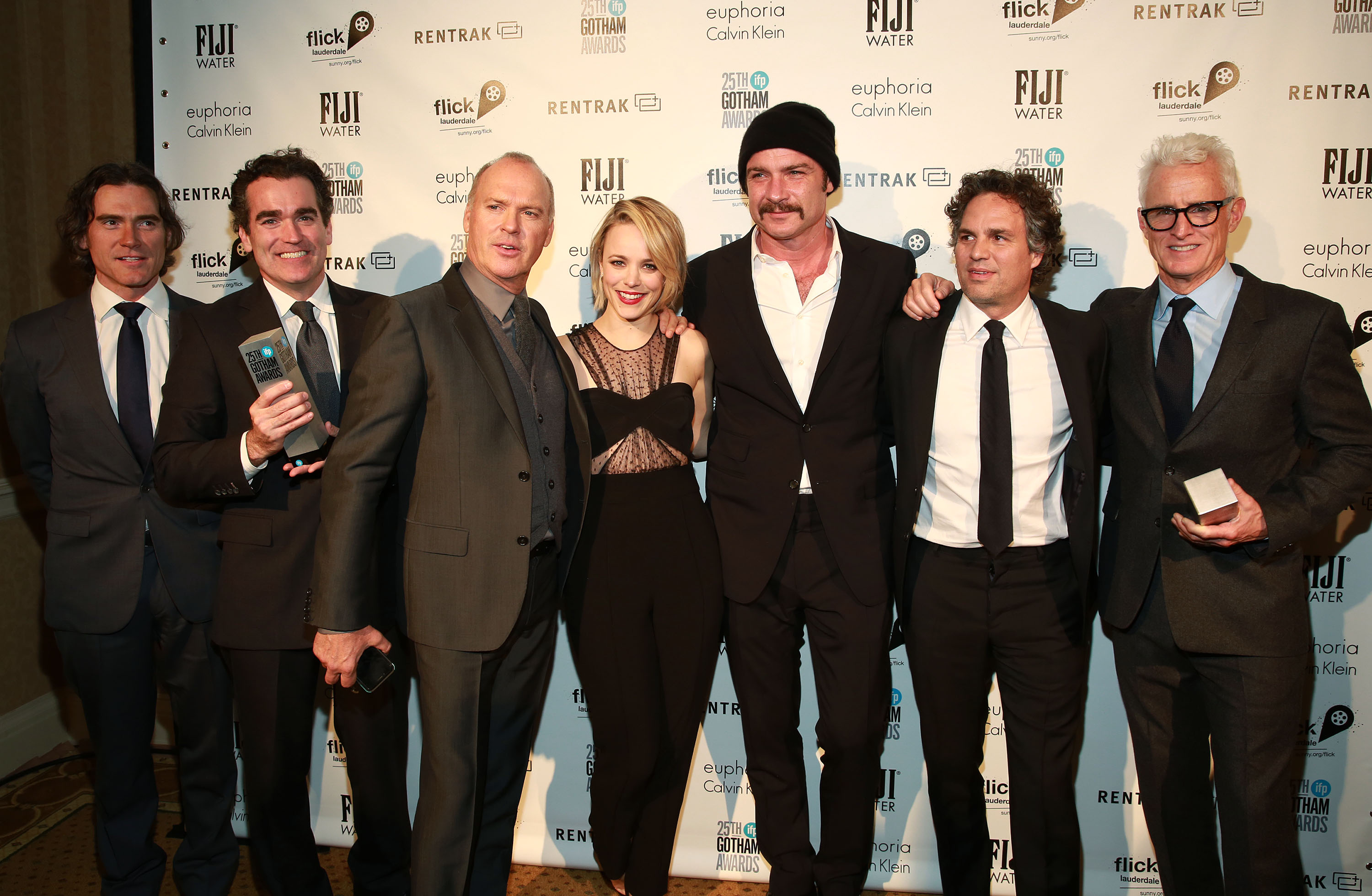 Cast of Spotlight, named best feature, screenplay and acting ensemble, pose at the IFP Gotham Independent Film Awards 2015 at Cipriani Wall Street, in New York, on Monday, November 30, 2015. Photo: Invision for Greater Fort Lauderdale Convention and Visitors Bureau via AP