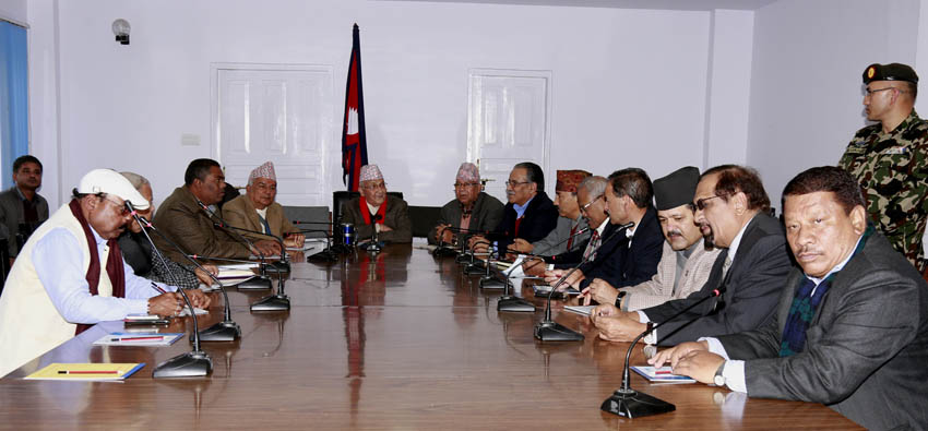 Leaders taking part in tripartite meeting held at the OMPCM in Singha Darbar on Thursday, December 10. Photo: RSS