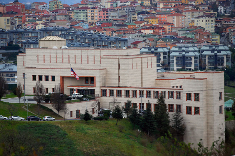 A general view of the US Consulate in Istanbul, Turkey on Wednesday, December 9, 2015. Photo: AP