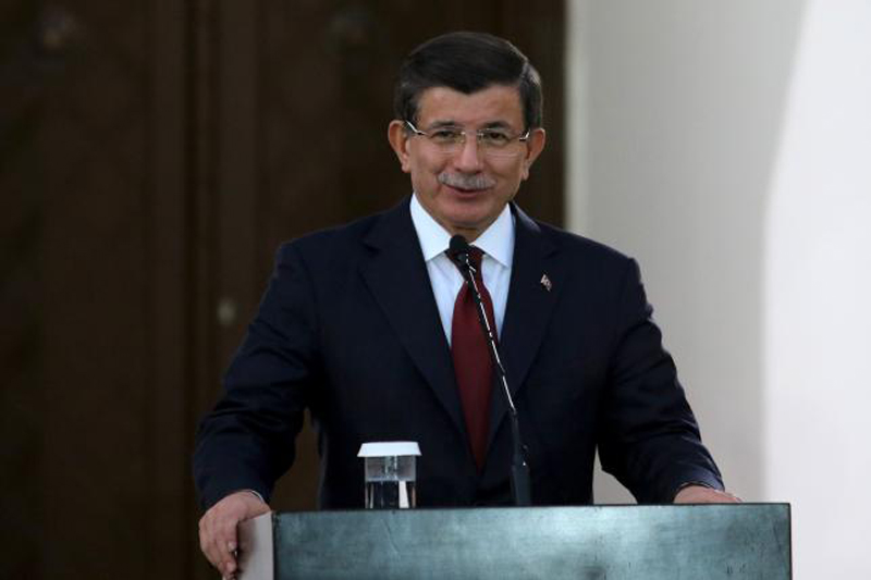 Turkish Prime Minister Ahmet Davutoglu speaks to the media during a visit to northern Cyprus, December 1, 2015. Photo: Reuters