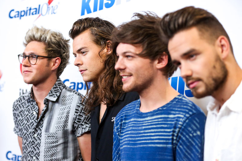 Niall Horan (from left), Harry Styles, Louis Tomlinson and Liam Payne of One Direction arrive at 102.7 KIIS FM's Jingle Ball iHeartRadio at Staples Center in Los Angeles. Messages of love and gratitude shared by the boy band One Direction topped Twitteru0092s charts this year, eclipsing President Barack Obamau0092s celebration of the US Supreme Courtu0092s decision legalizing gay marriage. One Direction members accounted for half of the 10 most recirculated tweets, including the three most popular on Friday, December 4, 2015. Photo: AP