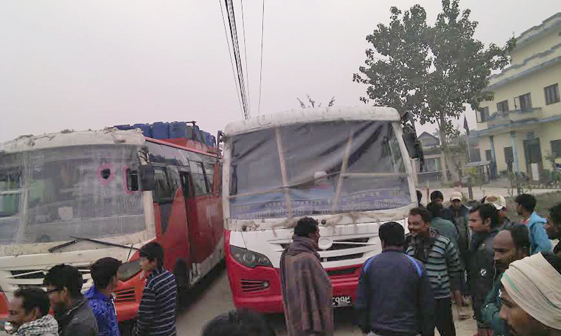 Two passenger buses impounded by police from Chandranigahapur of Rautahat district along the East-West Highway on Thursday, December 03, 2015. Photo: Prabhat Kumar Jha