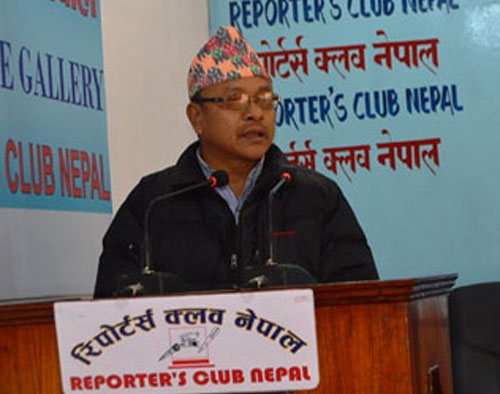 UCPN-Maoist Standing Committee member Gopal Kiranti speaks at the Reporters' Club on Friday, December 23, 2015. Photo: Reporters' Club.