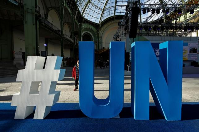 A United Nations logo is pictured at the Grand Palais during the Solutions COP21 in Paris, France, December 4, 2015 as the World Climate Change Conference 2015 (COP21) continues at Le Bourget near the French capital. Photo: Reuters