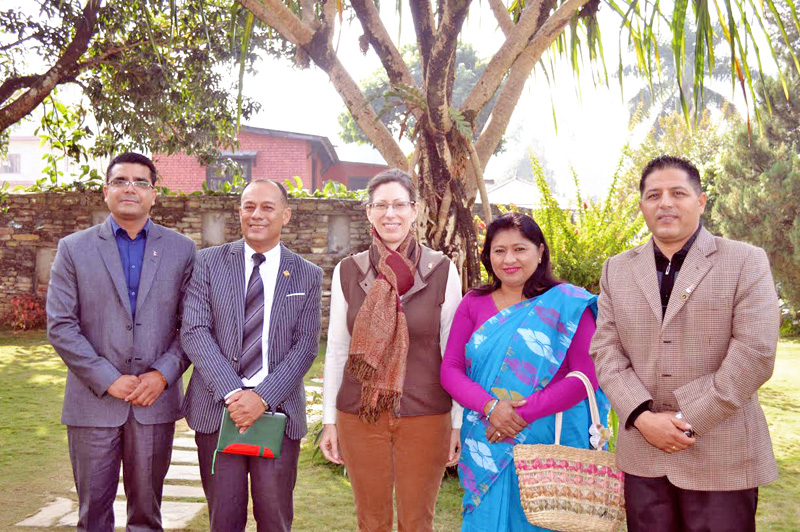US Ambassador to Nepal Alaina B. Teplitz (centre) along with officials of Pokhara Chambers of Commerce and industry (PCCI) and tourism entrepreneurs in Pokhara on Monday, December 14, 2015. Courtesy: PCCI