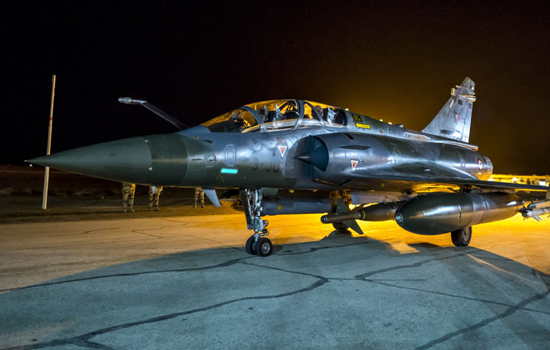 The French Army Communications Audiovisual office (ECPAD) shows a French army Mirage 2000 jet on the tarmac of an undisclosed air base as part of France's Operation Chammal launched in September 2015 in support of the US-led coalition against Islamic State group on Monday, November 9, 2015. Photo: AP