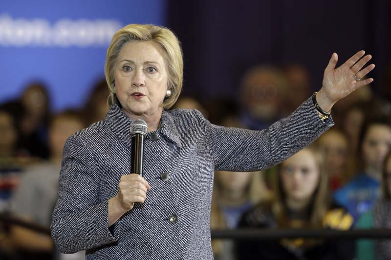Democratic presidential candidate Hillary Clinton speaks during a town hall meeting at Keota High School in Keota, Iowa, on December 22, 2015. Photo: AP
