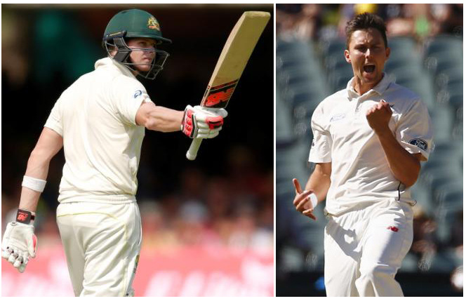 From left ( Steven Smith, Australian captain and Trent Boult New Zealand fast bowler). Photo: Reuters