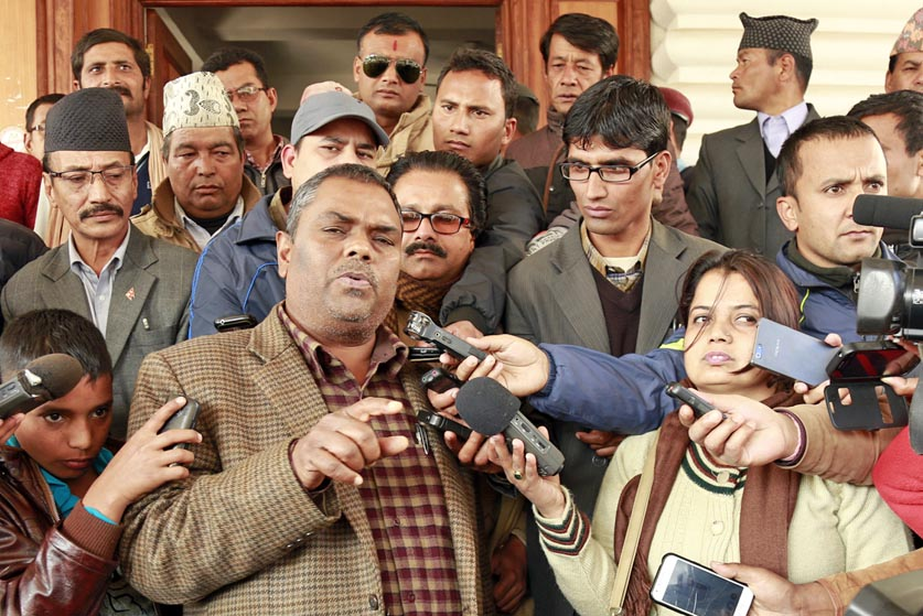 Upendra Yadav briefs media at Singha Darbar. Photo: RSS
