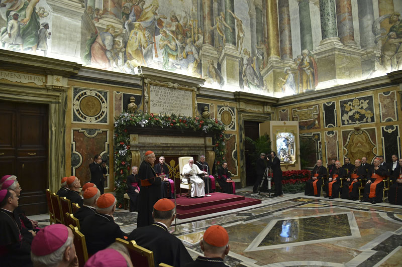 Pope Francis attends the annual Christmas greetings to the Vatican bureaucracy in the Clementina Hall, at the Vatican on Monday, December 21, 2015.  Photo: AP