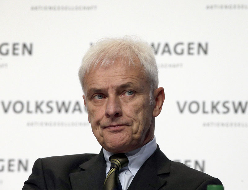 Matthias Mueller, CEO of Volkswagen, attends a press conference of the German car manufacturer Volkswagen in Wolfsburg, Germany on Thursday, December 10, 2015. Photo: AP