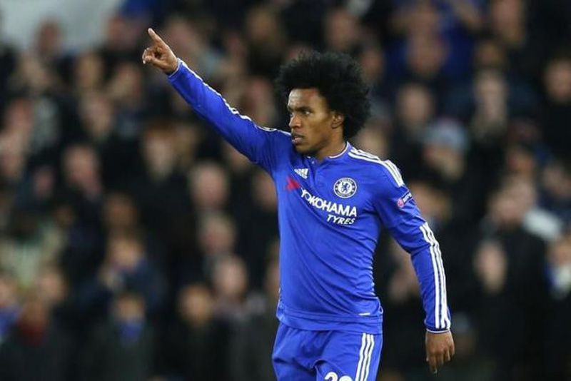 UEFA Champions League Group Stage - Group G - Stamford Bridge, London, England - 9/12/15. Willian celebrates after scoring the second goal for Chelsea. Photo: Reuters