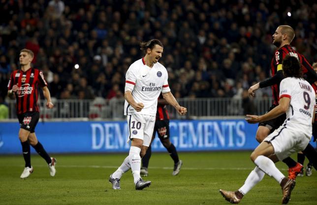 Football Soccer - Nice v Paris St Germain - French Ligue 1 - Allianz Riviera stadium, 4/12/2015 Paris St Germain's Zlatan Ibrahimovic (C)  reacts after scoring against Nice.   REUTERS/Eric Gaillard