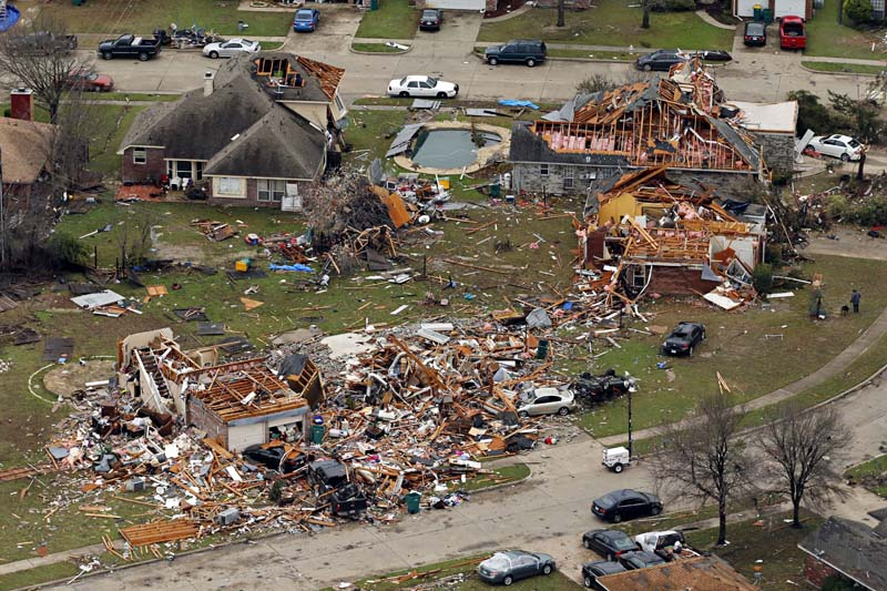 This aerial photo shows damage after a tornado ripped through the area, on Monday, December 28, 2015 in Glenn Heights Texas. Photo: The Dallas Morning News via AP