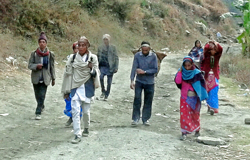 Locals of northern Bajura heading to India for jobs after drought destroyed their crops, in Bajura, on Sunday.