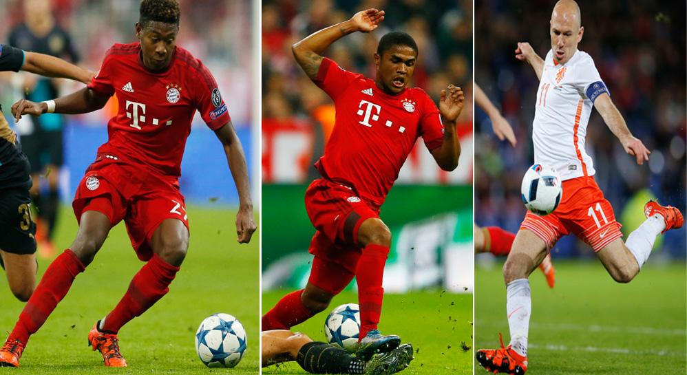 Bayern Munichs' players David Alaba (left) Douglas Costa (centre) and Arjen Robben (right). Photo: Reuters