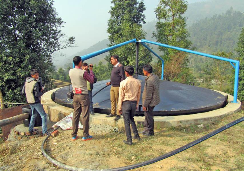 A biogas plant been constructed at Bishnupaduka of Dharan. Photo: RSS