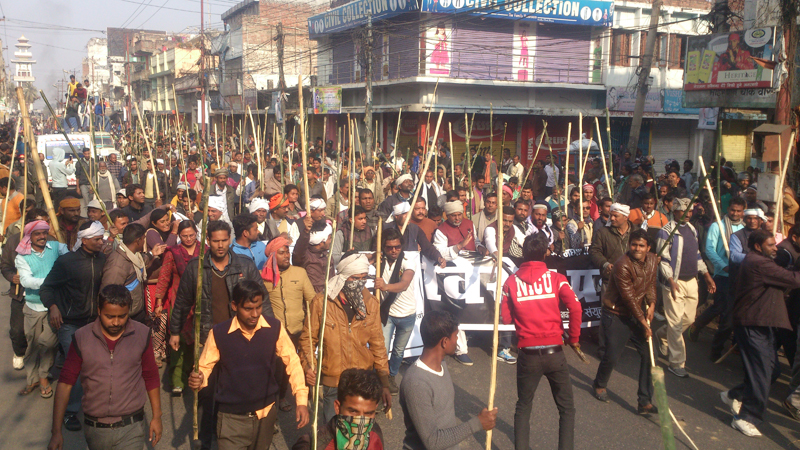 The United Democratic Madhesi Front stages a lathi rally in Birgunj of Parsa, on Wednesday, December 30, 2015. Photo: Ram Sarraf