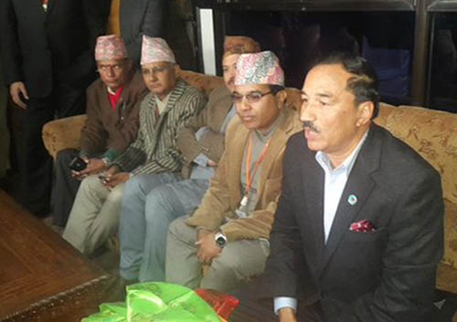 Deputy Prime Minister and Minister for Foreign Affairs Kamal Thapa speaks with journalists at the Tribhuvan International Airport, in Kathmandu, on Sunday, December 20, 2015. Courtesy: Mohan Shrestha