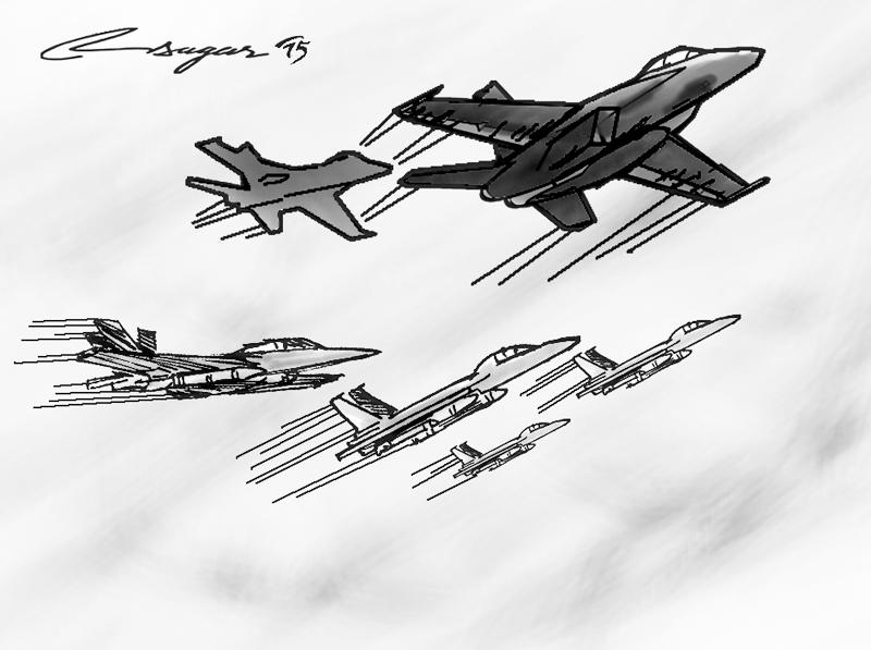 Fighter planes. Illustration: Ratna Sagar Shrestha/THT