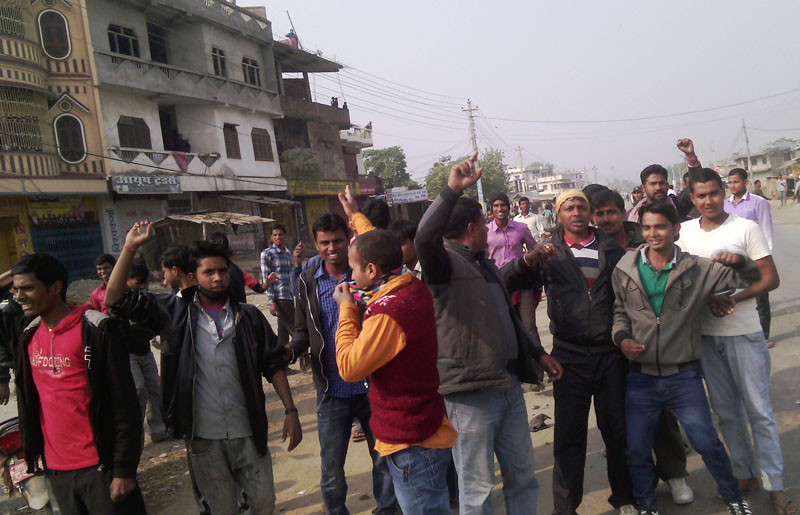 Protesters of the United Democratic Madhesi Front defy curfew and stage a demonstration at BP Chok of Gaur, Rautahat district headquarters, on Monday, December 21, 2015. Photo: Prabhat Kumar Jha