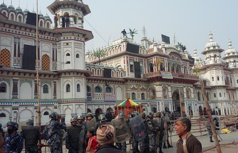 Security personnel guard the Janaki Temple as President Bidya Devi Bhandari visits the holy site amid protests by Tarai-based parties, in Janakpurdham of Dhanusha district, on Wednesday, December 16, 2015. Photo: Brij Kumar Yadav