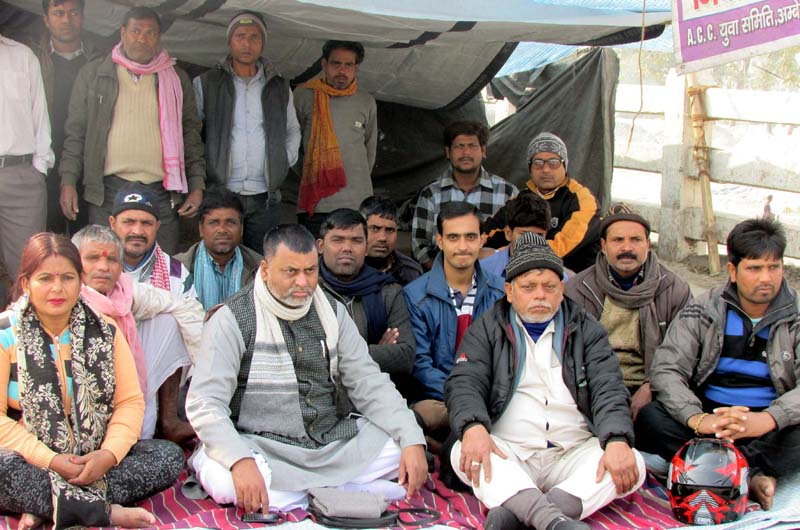Madhesi leaders, including Jitendra Sonal, taking part in a sit-in protest at the Miteri Bridge, joining Birgunj of Nepal and Raxaul of India, on Tuesday. December 22, 2015. Photo: Ram Sarraf/ THT