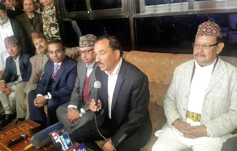 Deputy Prime Minister Kamal Thapa speaks with journalists at the Tribhuvan International Airport, on Thursday, December 3, 2015. Photo: twitter.com/mohanrppn1