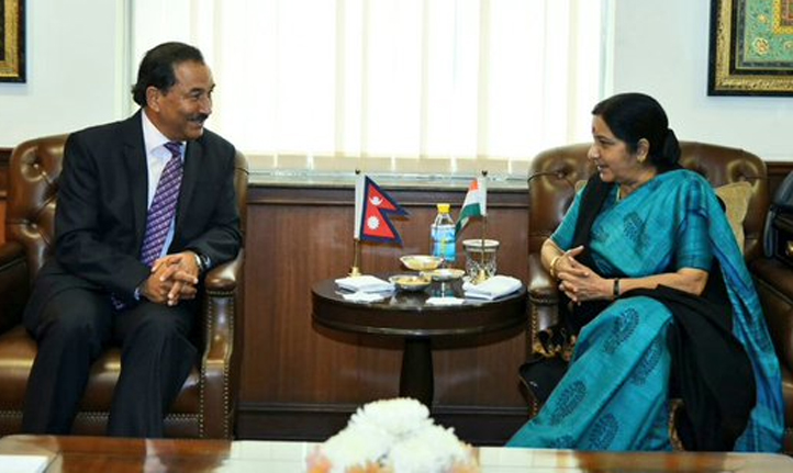 Deputy Prime Minister and Minister for Foreign Affairs Kamal Thapa holds a meeting with Indian Minister for External Affairs Sushma Swaraj in New Delhi of India, on Wednesday, December 2, 2015. twitter.com/MEAIndia