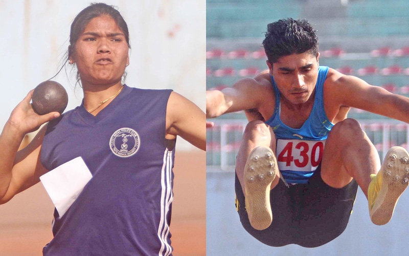 Puspendra Kumar Goit of Dhanusa performs during the menu0092s long jump event, and (left) Chandrakala Lamgade of Nepal Police Club throws the shot-put during an open selection tournament at the Dasharath Stadium in Kathmandu on Friday. Photo: Udipt Singh Chhetry / THT