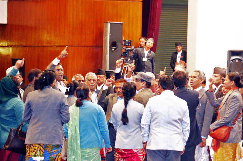 Lawmakers affilated to United Democratic Madhesi Front shouting slogan near the Rostum in the Legislature-Parliament on Tuesday, December 02, 2015. Photo: RSS