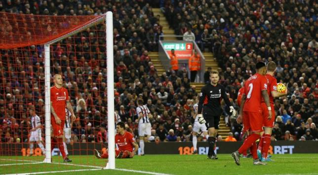 Liverpool's Simon Mignolet looks dejected after Jonas Olsson (not pictured) scores the second goal for West BromnAction Images via Reuters / Carl Recine Livepicn