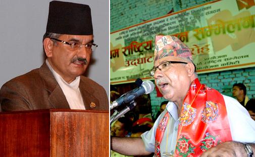 CPN-UML Standing Committee Member Surendra Pandey (left) and former Prime Minister Madav Kumar Nepal. THT file photos.
