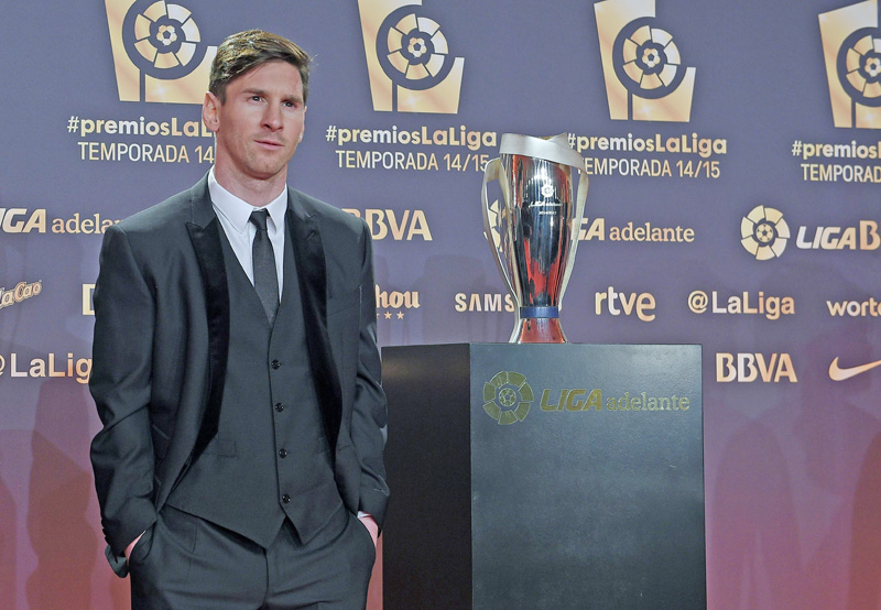 Barcelona's Argentinian forward Lionel Messi poses before the LFP 2014-2015 season award ceremony in Barcelona on Monday. Photo: AFP
