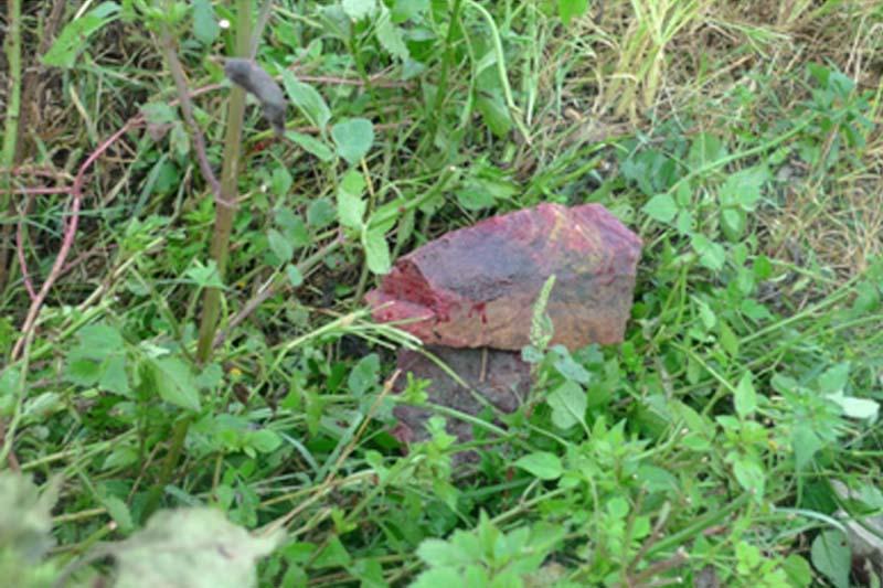 A stone used by suspect Ambar Prasad Khatiwada to hit Yubaraj Gurung found near his body from Mahadevtaar of Tokha Municipality-12 on Friday, October 16, 2015. Photo: MPCD