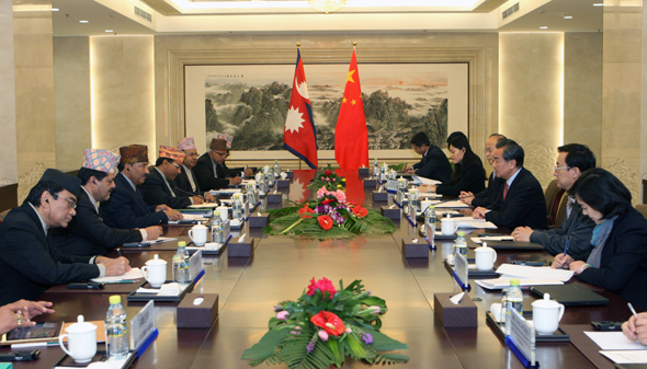 File - Nepal's Deputy Prime Minister and Minister for Foreign Minister Kamal Thapa and his Chinese counterpart Wang Yi taking part in bilateral meeting between Nepal and China in Beijing, China on Friday, December 25. Photo: China's Ministry of Foreign Affairs