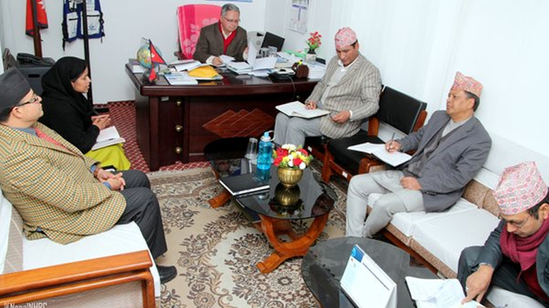 National Human Rights Commissioners including Chief Anup Raj Sharma (3rd from left) discuss human rights situation with Home Minister Shakti Bahadur Basnet, in Kathmandu, on Monday, December 28, 2015. Photo: NHRC
