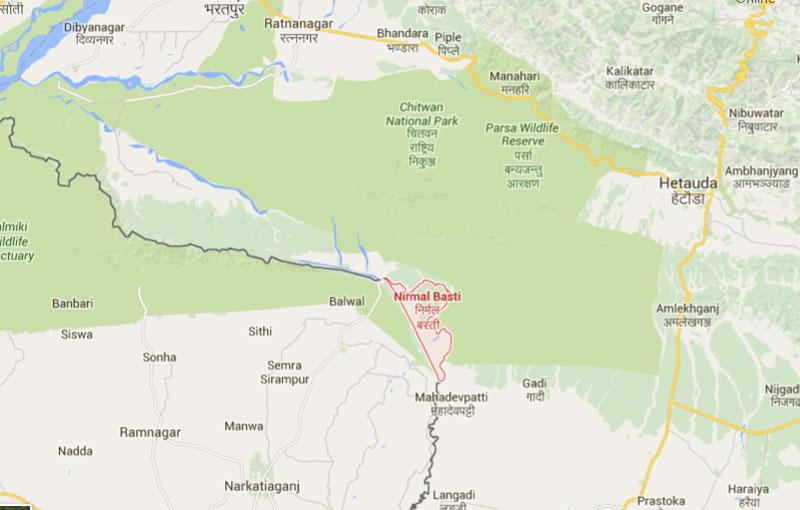 Nirmalbasti of Parsa district. Map: Google