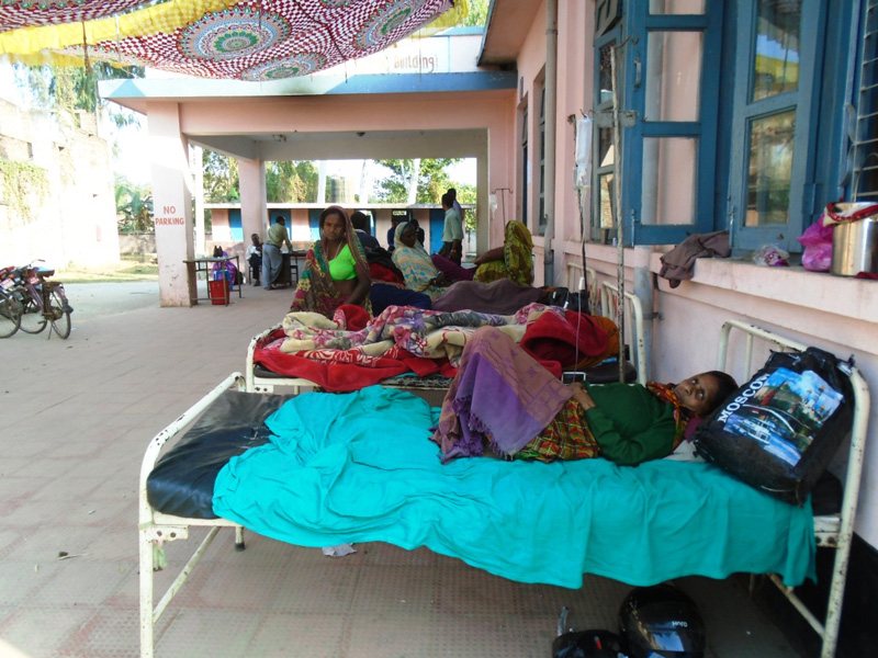 Patients being treated under the tent at Gajendra Narayan Singh Sagarmatha Zonal Hospital on Sunday, December 6, 2015. Photo: THT Online