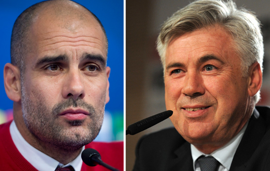 FC Bayern coach Pep Guardiola (left) has announced today to leave Bayern Munich at the end of the season, and Carlo Ancelotti to coach Bayern Munich from the next season. Photos: Reuters