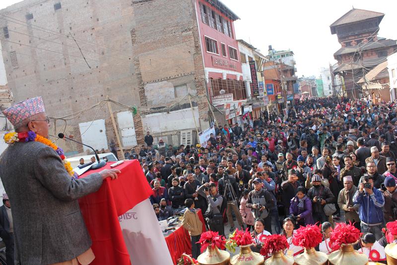 Prime Minister KP Sharma Oli addresses a mass at a function organised on the occasion of Jyapu Diwas/Yomari Punhi, in Basantapur of Kathmandu, on Friday, December 25, 2015. Photo: PM's Secretariat