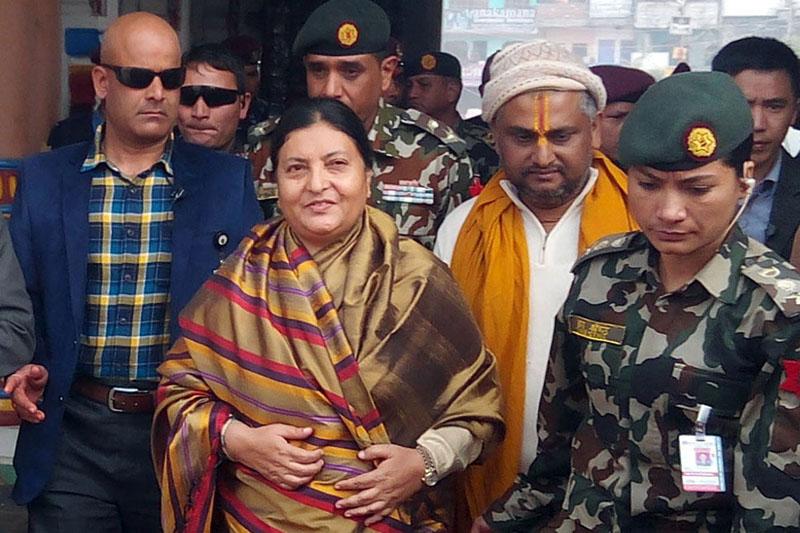 President Bidya Devi Bhandari attends the Ram-Janaki Vivaha Mahostav in Janakpurdham of Dhanusha district, on Wednesday, December 16, 2015. Photo: RSS